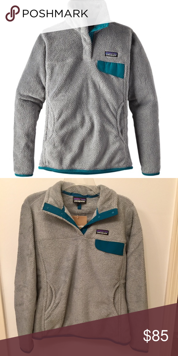 14325d6e3 Patagonia women's re-tool snap-t fleece pullover Brand new with tags Patagonia  Re-tool snap-t fleece pullover in tailored grey- nickel x-dye with elwha  blue ...