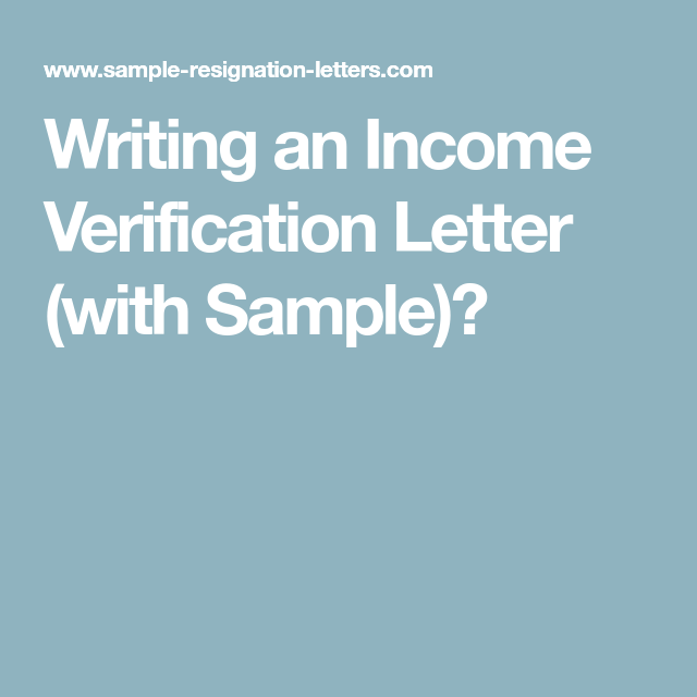 An Income Verification Letter With Sample