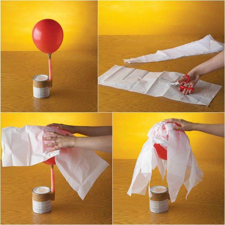 Basteln mit Pappmache luftballon-gespenst-halloween-idee-anleitung