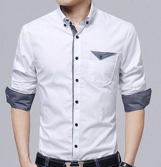 Men's White Shirt With Flip Pocket | shades of grey men fashion ...