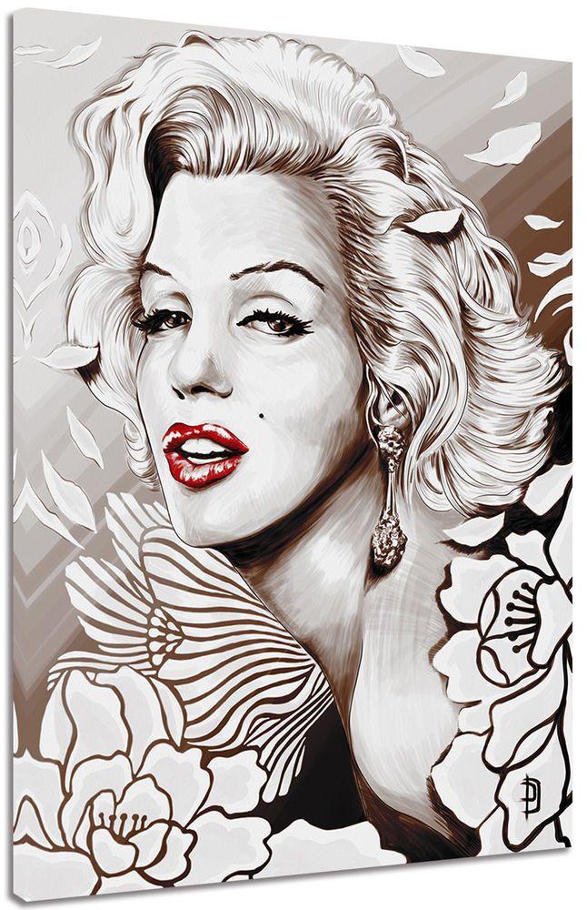 Quadro Moderno Marilyn Monroe Fiori Arredo Casa Stampa su Tela Arte ...