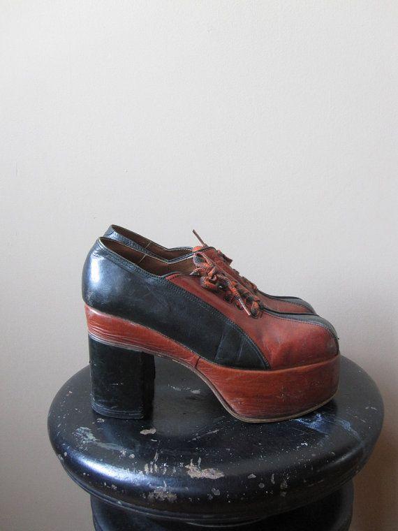 41d070b2802e4 Vintage Rare 1970s Platform Shoes / Mens Size 7.5 / Womens Size 9 ...