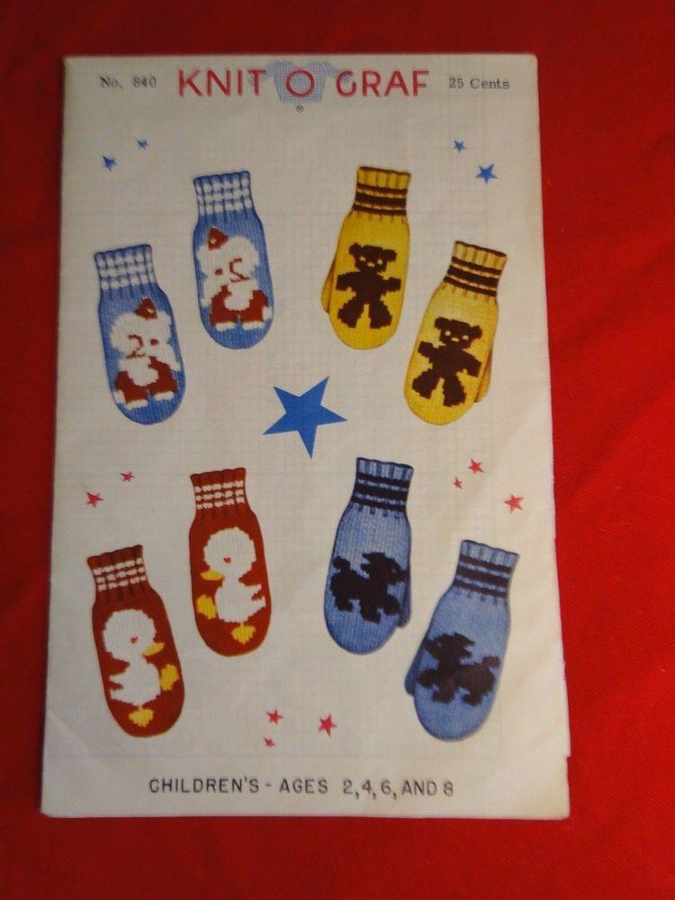 1949 Knit O Graf PATTERN 840 Children\'s Mittens Elephant Teddy Bear ...