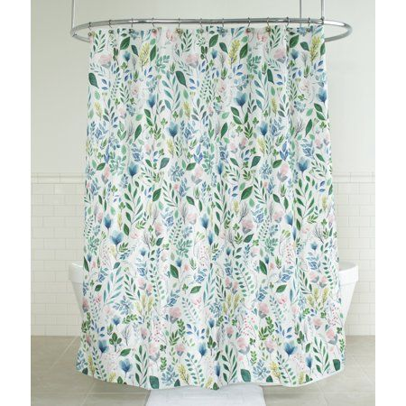 Splash Home Sia Floral Polyester Fabric Shower Curtain 70 Inch X 72 Multi Colors Green Multicolor