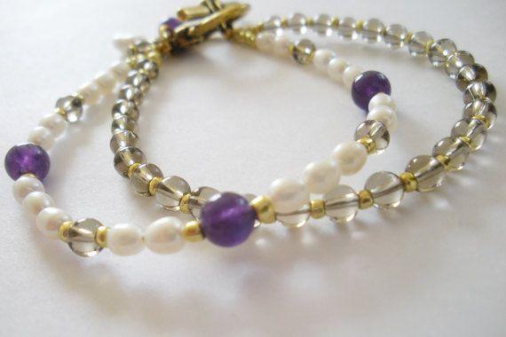 Fun smoky quartz and amethyst bracelet.
