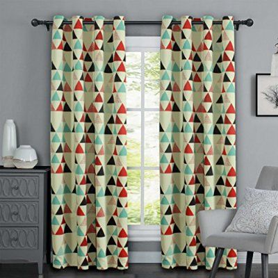 H.Versailtex Geometry Triangle in Red/Beige/Stone Blue Pattern 80% blackout Kids Room Window Curtains,Antique Copper Grommets,52 inch Wide by 84 inch Long-Set of 1 Panel