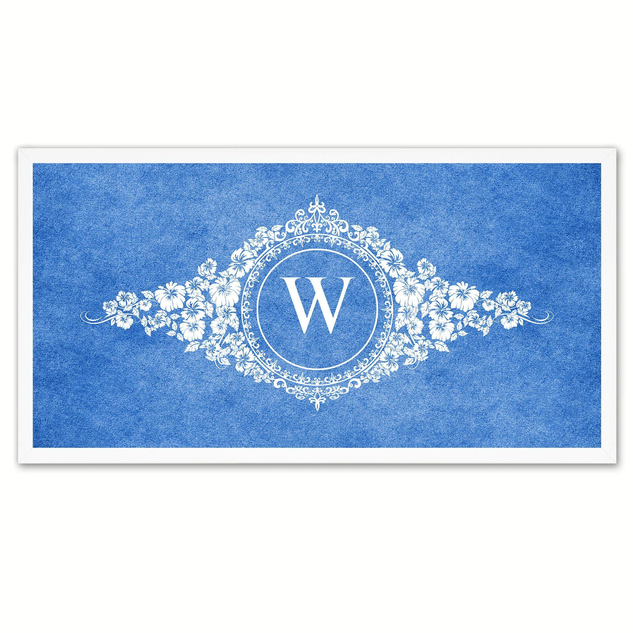 Alphabet Letter W Blue Canvas Print White Frame Kids Bedroom