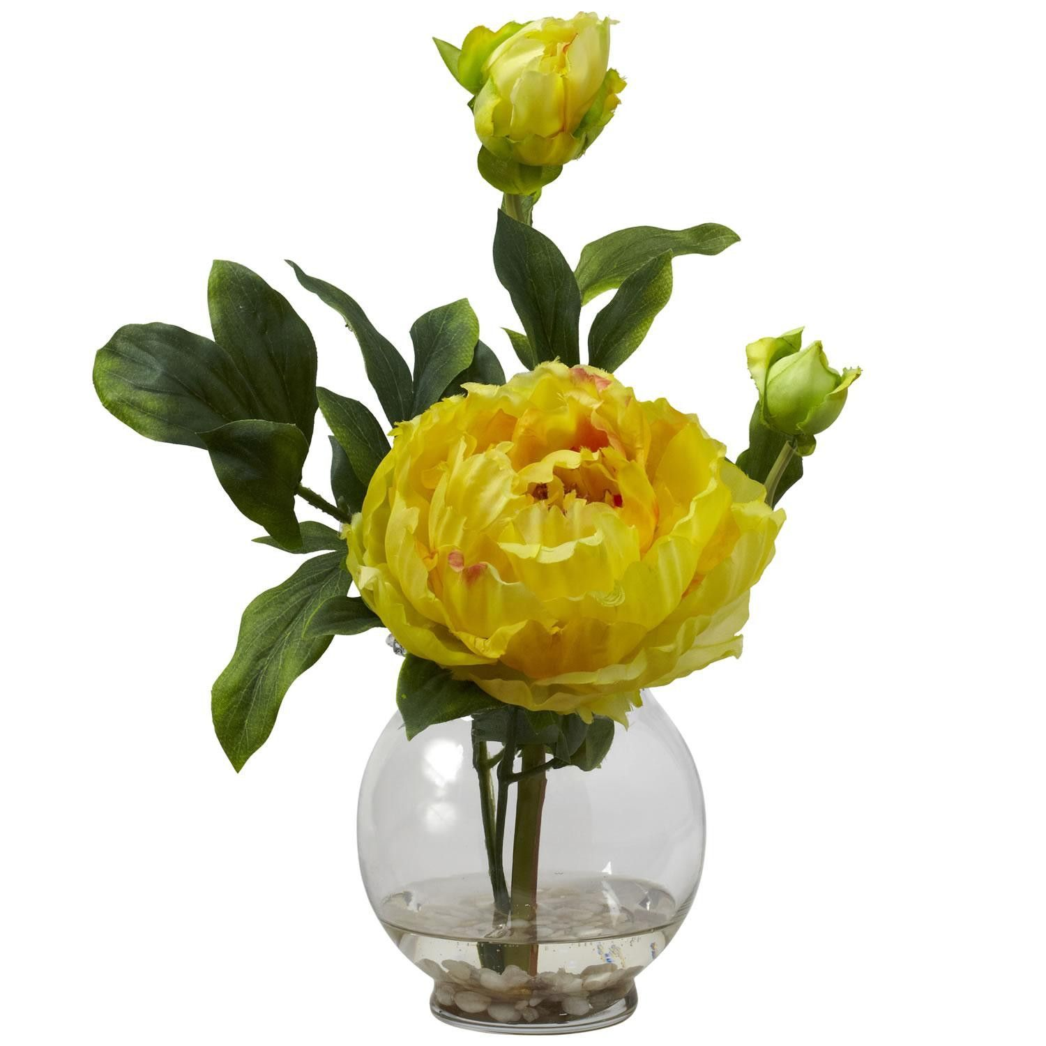 Peony w fluted vase silk flower arrangement peony and products peony w fluted vase silk flower arrangement dhlflorist Images