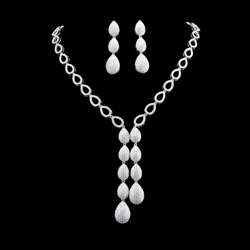 New Arrival Luxury Wedding Jewelry Set Micro Pave Setting Cubic Zirconia Diamond Necklace And Earrings Set