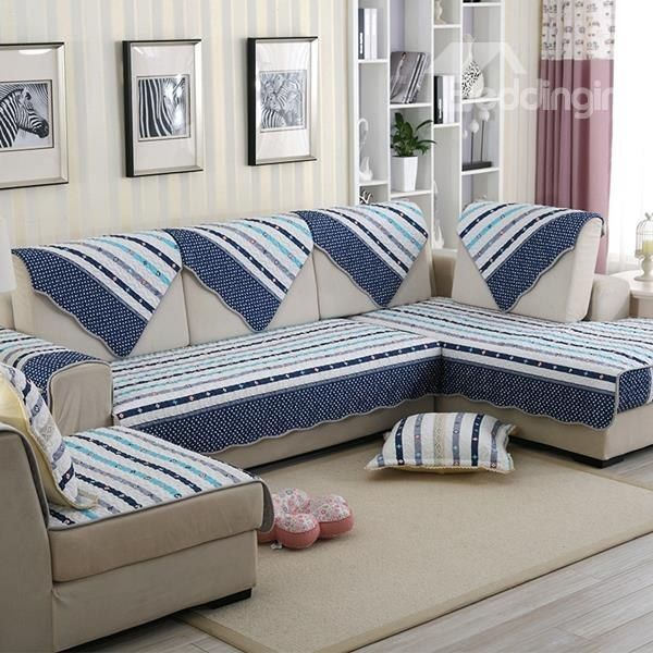 Mediterranean Style Cotton Blue Strips Cushion Slip Resistant Sofa Covers Bed Cover Design Sofa Handmade Living Room Sofa Set