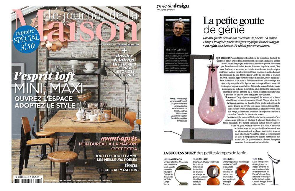Le Journal De La  Maison features the Drop Table Lamp designed by Patrick Naggar for Veronese.