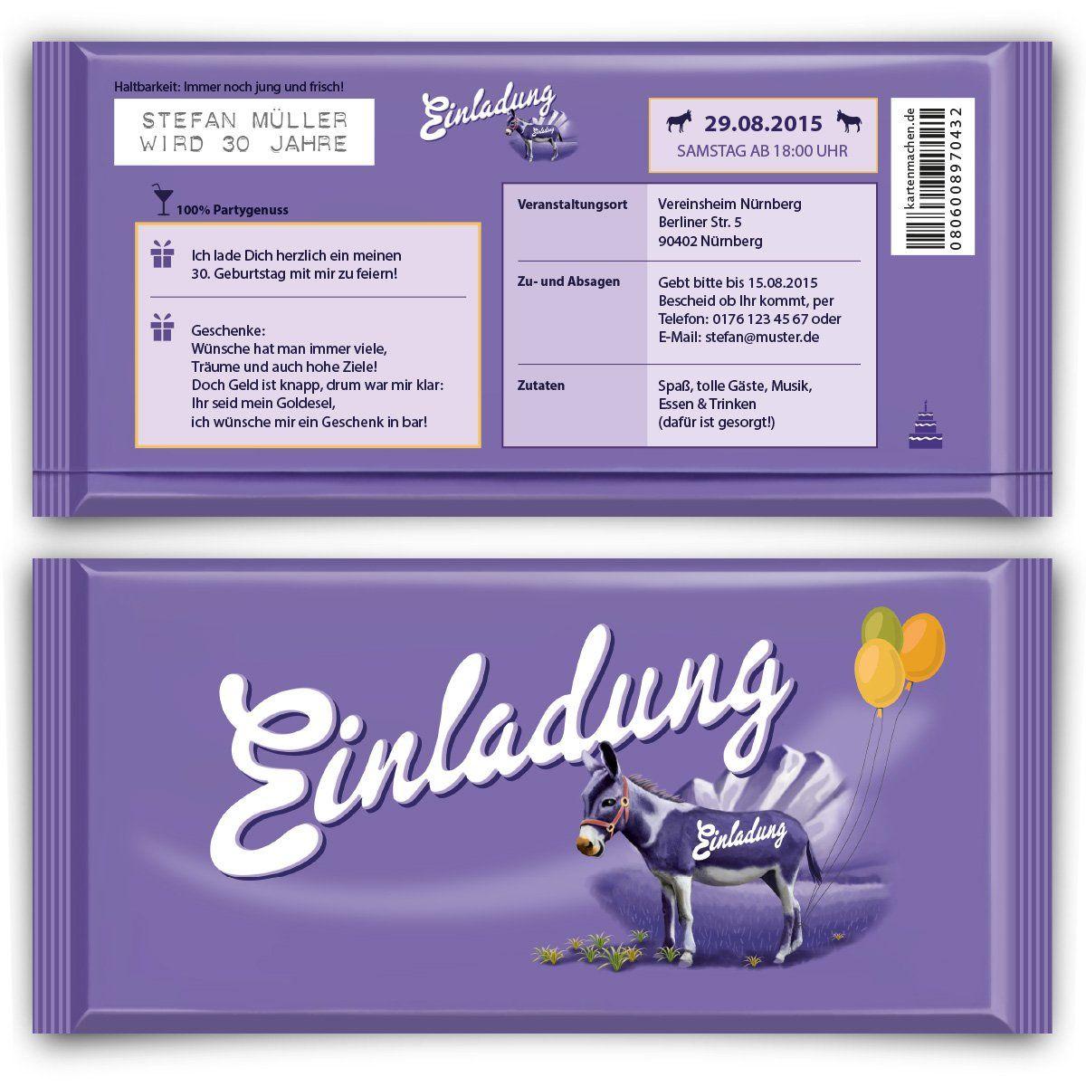 einladungen zum geburtstag (50 stück) lila schokolade schoko esel, Einladung