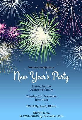 New Years Party Fireworks New Year Invitation Template Free Greetings Island New Years Eve Invitations Party Invitations Printable Templates New Years Party