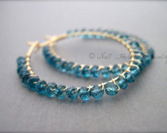Photo of Hammered Hoop Gemstone Earrings with Labradorite, London Blue Topaz and Green Quartz, Gemstone Dangle Earrings in 14K Gold Fill