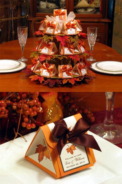 Image Detail For LMK Gifts AUTUMN FALL Wedding Origami Favor Boxes Personalized