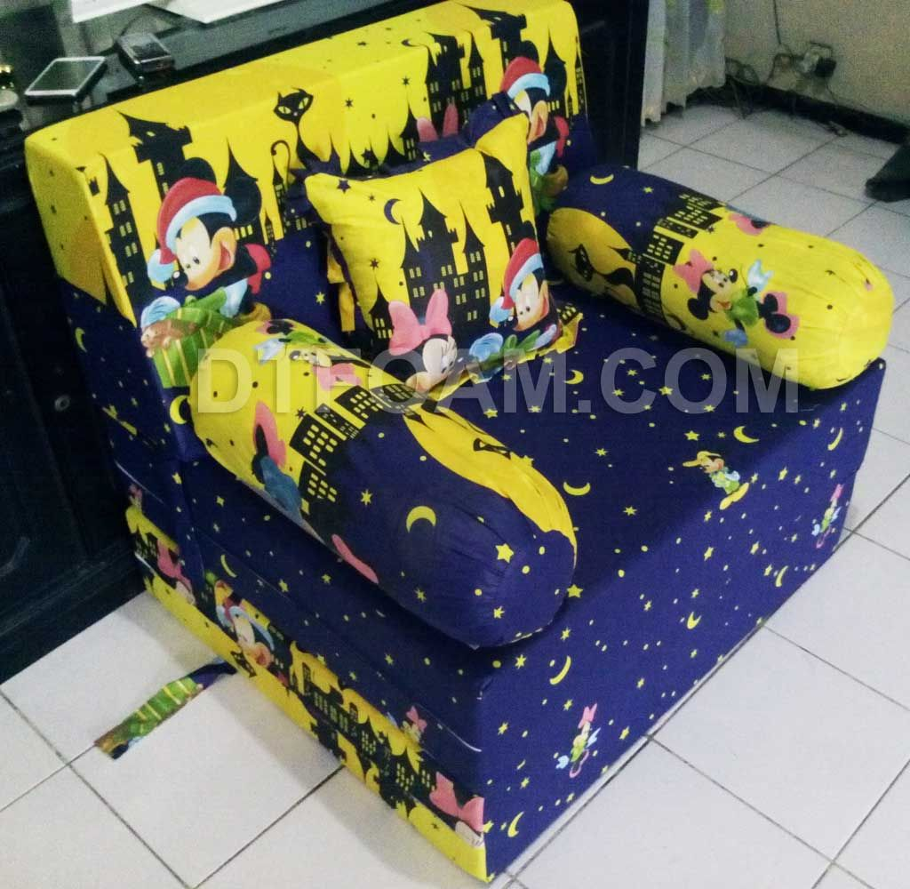 Bed cover my love anak -  P Sofa Bed Inoac Anak Karakter Kartun Mickey Mouse Kuning Biru Dongker Pilihan Busa Super Awet 10 Tahun Esklusif Awet 15 Tahun Cover Katun