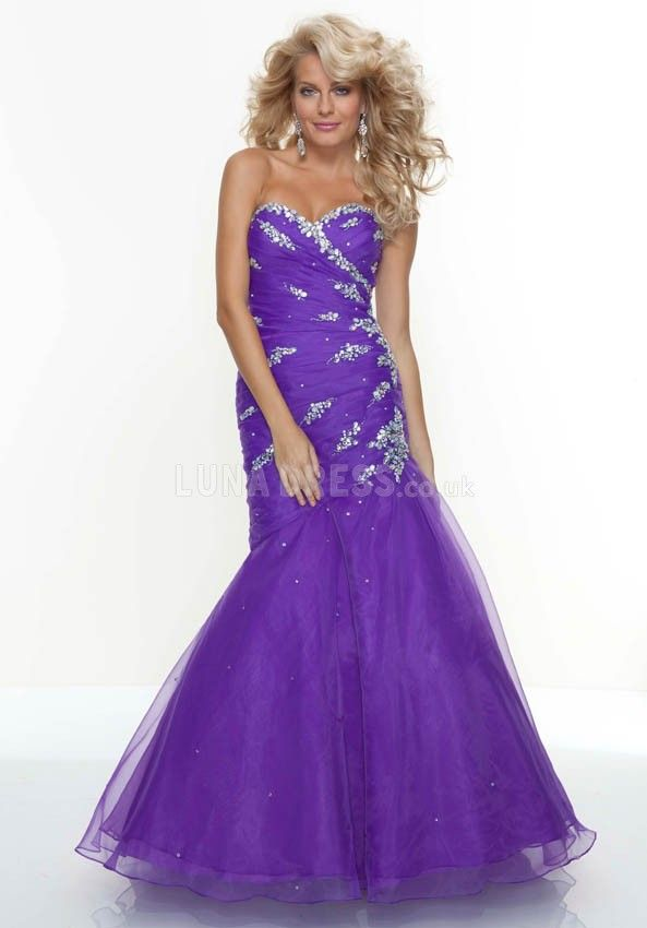 Classic Sweetheart Sleeveless Organza Dropped Fit N Flare Prom Dress