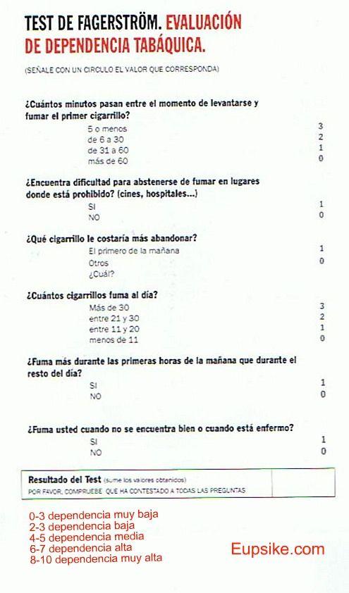 Test de Fagerström (dependencia nicotina) | Escalas/Test