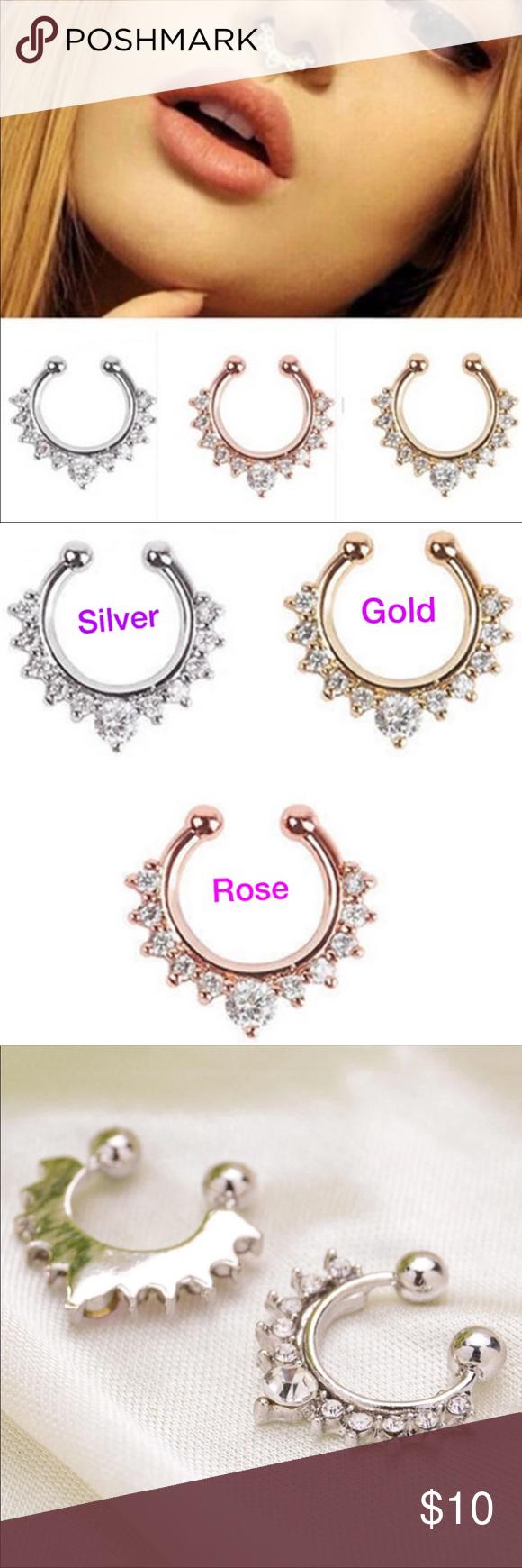Fake piercing nose ring   Fake Nose Piercing nose ring rose gold silv Boutique