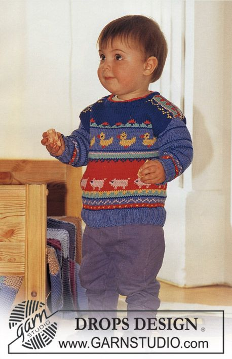 Sweater In Muskat With Ducks And Pigs Drops Design Baby Clothes Patterns Boy Baby Boy Knitting Patterns Baby Knitting Patterns