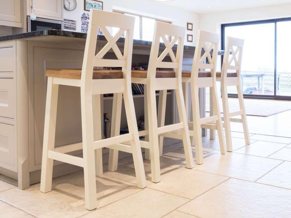 Billy cream painted kitchen bar stools  Oak Bar Stools
