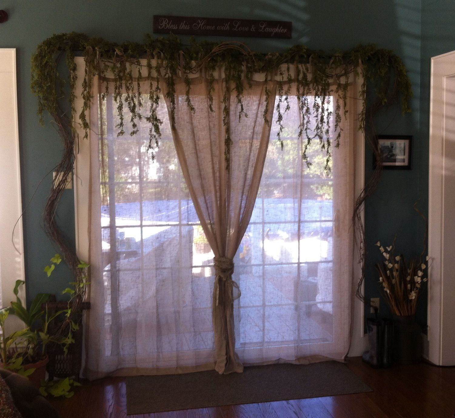 Pin By Cindy Curtis On Back Patio Door Green Kitchen Curtains Sliding Patio Doors French Doors Interior