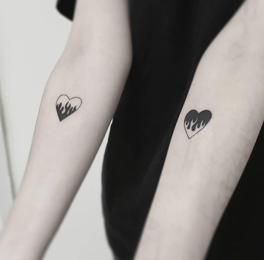 Flaming Hearts Hon Tattoo