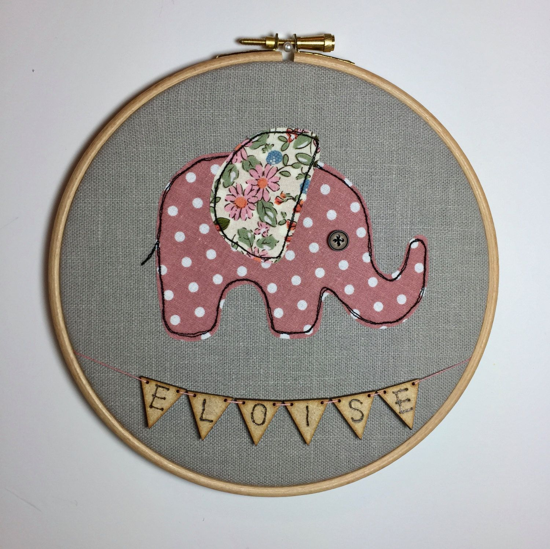 Elephant picture nursery decor nursery wall art embroidery elephant picture nursery decor nursery wall art embroidery hoop personalised baby gift negle Images