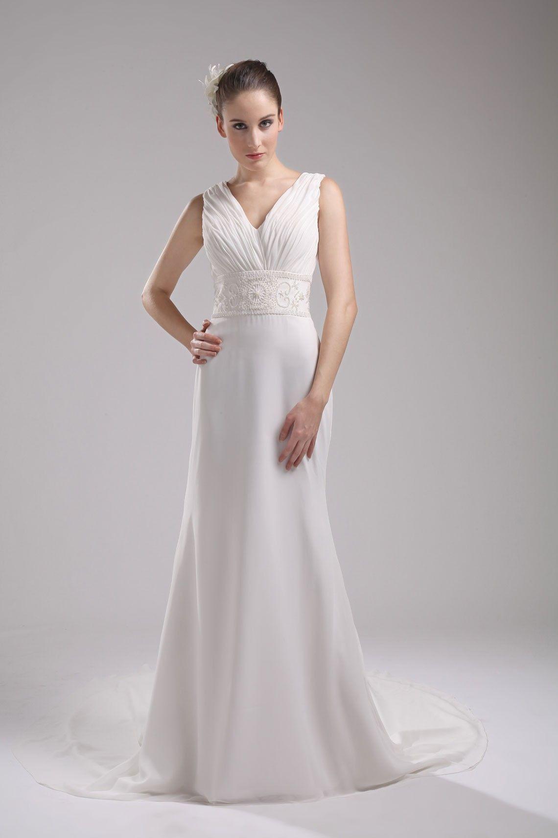 Sleeveless vback aline white pleated wedding dress plus