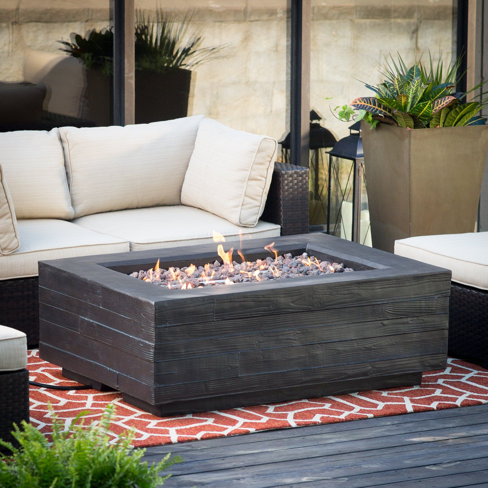Red Ember Bozeman Rectangle Propane Fire Table With Optional Tank Hideaway From Hayneedle