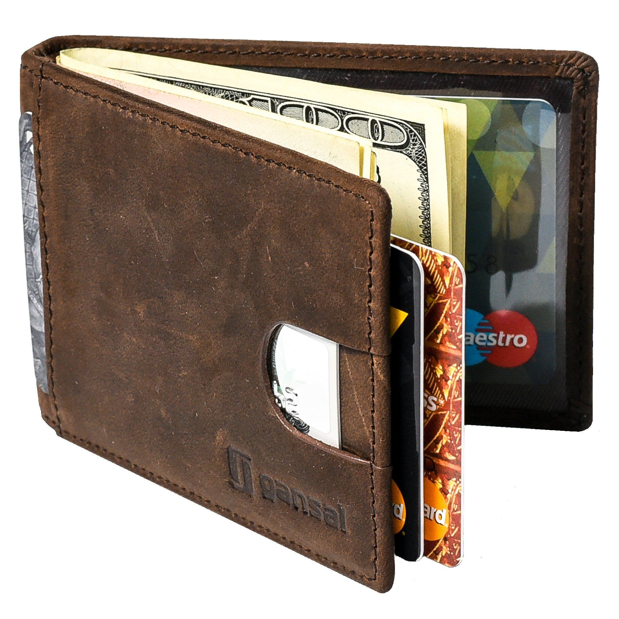 Mens Bifold Leather Wallet RFID Blocking With Money Clip Slim Card Holder Brown