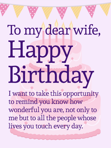 This Lovely Birthday Card For Your Wonderful Wife Will Put Her In