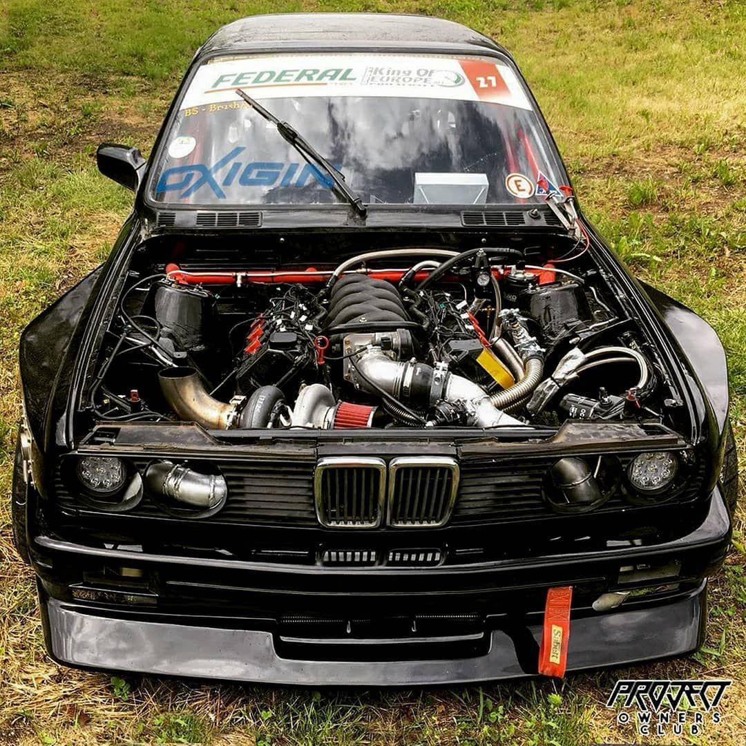 444whp BMW E30 4 4 V8 Single Turbo 💪🏼 Owner:@drift mike