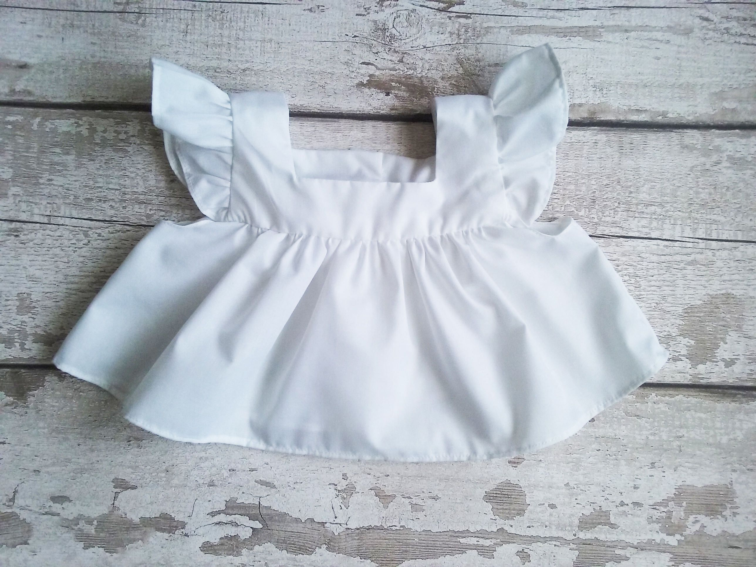 White Baby Pinafore Vintage style baby dress Baby pinny Ruffle
