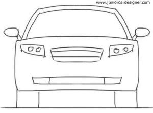 Car Drawing For Kidstutorial 4 Door Car Front View In 2019