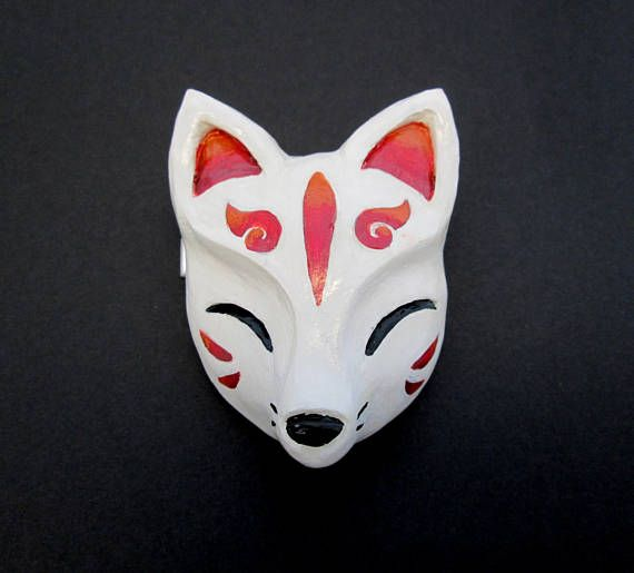 Fox Mask Half Type 1 For painting White paint Made in Japan Komendo