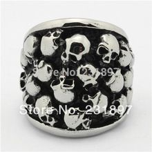 Boy's Silver Skulls Finger Rings Stainless Steel Ghost Skull Ring for Men(China (Mainland))