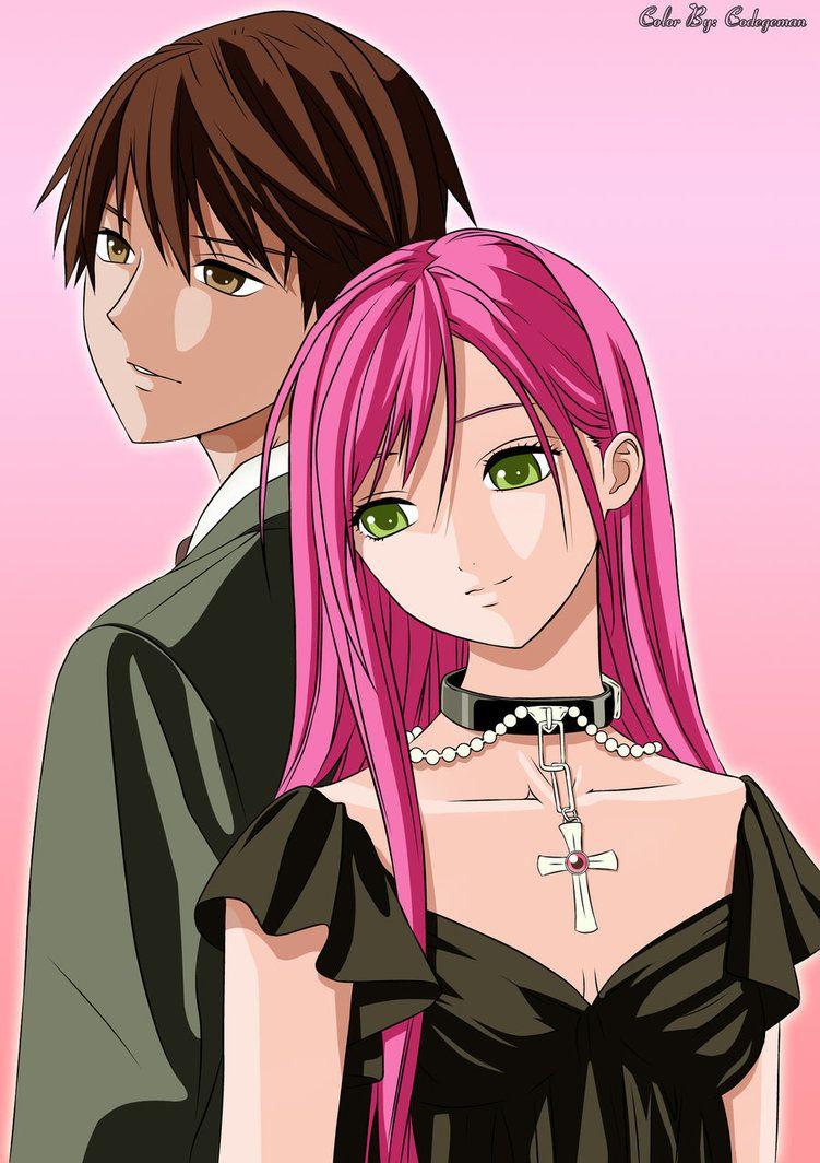 Outer Moka X Tsukune Rosario Vampire Rosario Vampire Anime Rosario Vampire Cute Couples