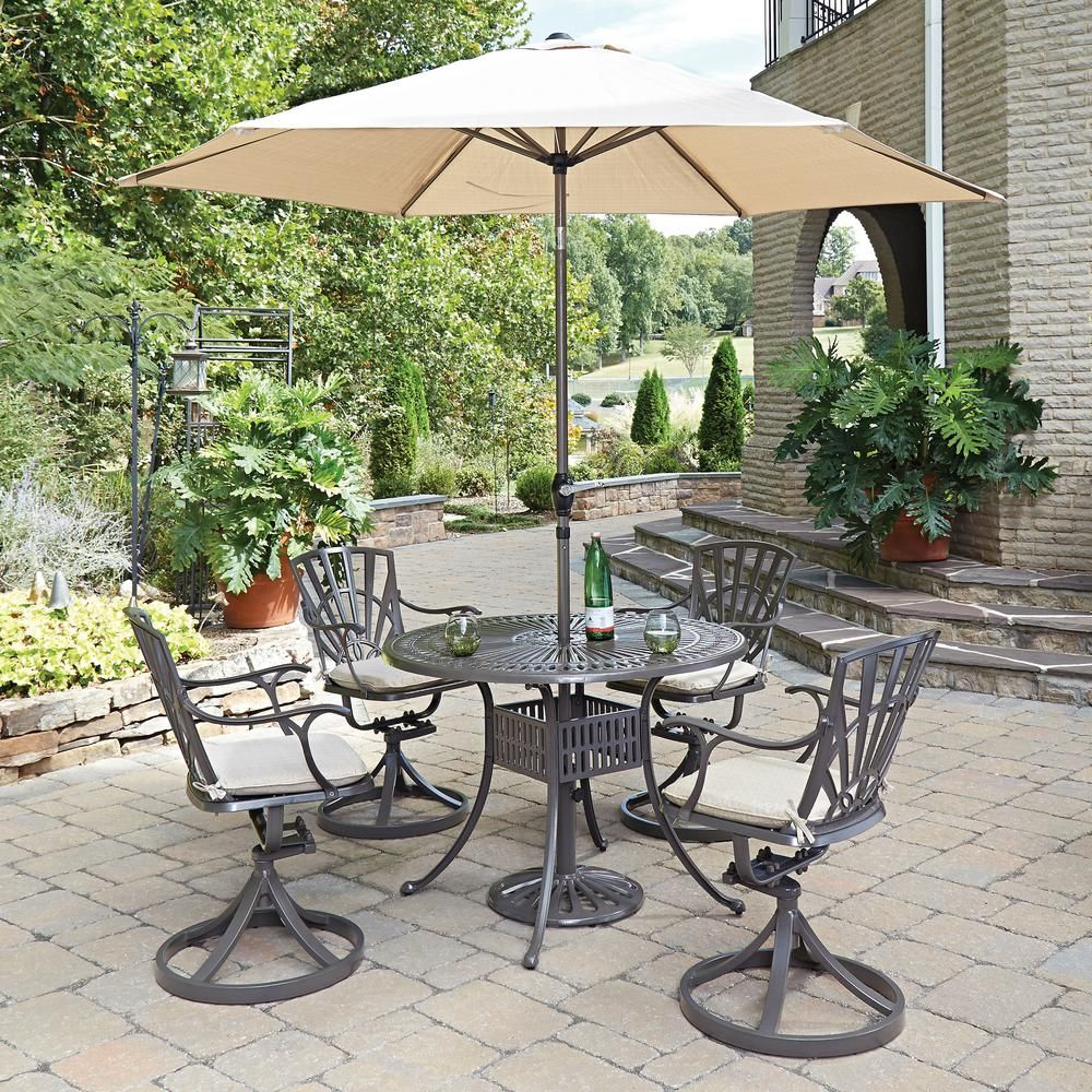 Home Styles Largo 5-Piece Patio Dining Set with Umbrella and Cushions