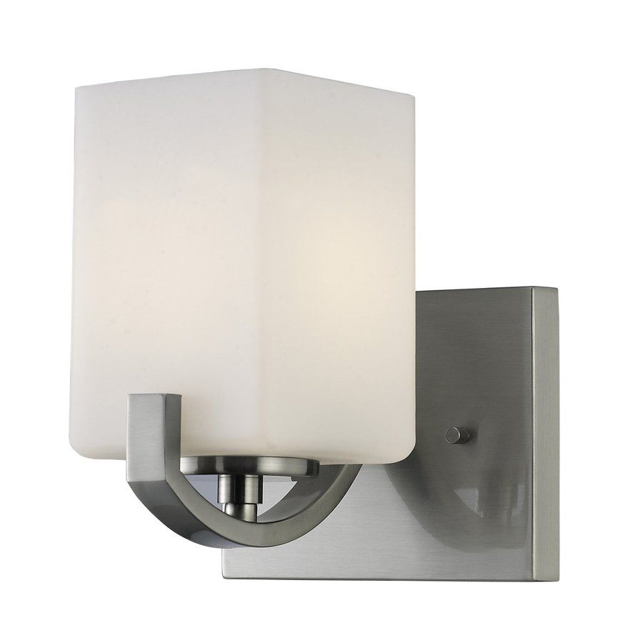 Canarm Palmer 6 25 In W 1 Light Brushed Nickel Arm Wall Sconce With Images Bath Vanity Lighting Vanity Lighting Sconces