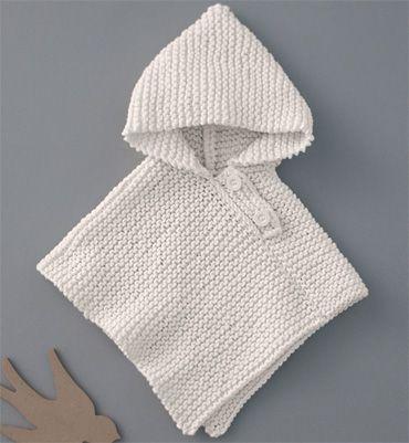 Bebé patrón del poncho con capucha | Tejido | Pinterest | Capucha ...