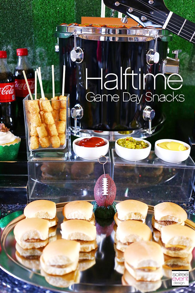 Halftime rocks football party snack bar ideas super for Food bar party ideas