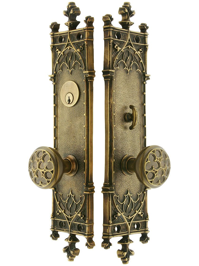 Antique brass front door knobs  Gothic Revival entry door set w trefoil knobs these would look