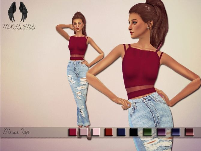 Meria Top at MXFSims via Sims 4 Updates Check more at http://sims4updates.net/clothing/meria-top-at-mxfsims/