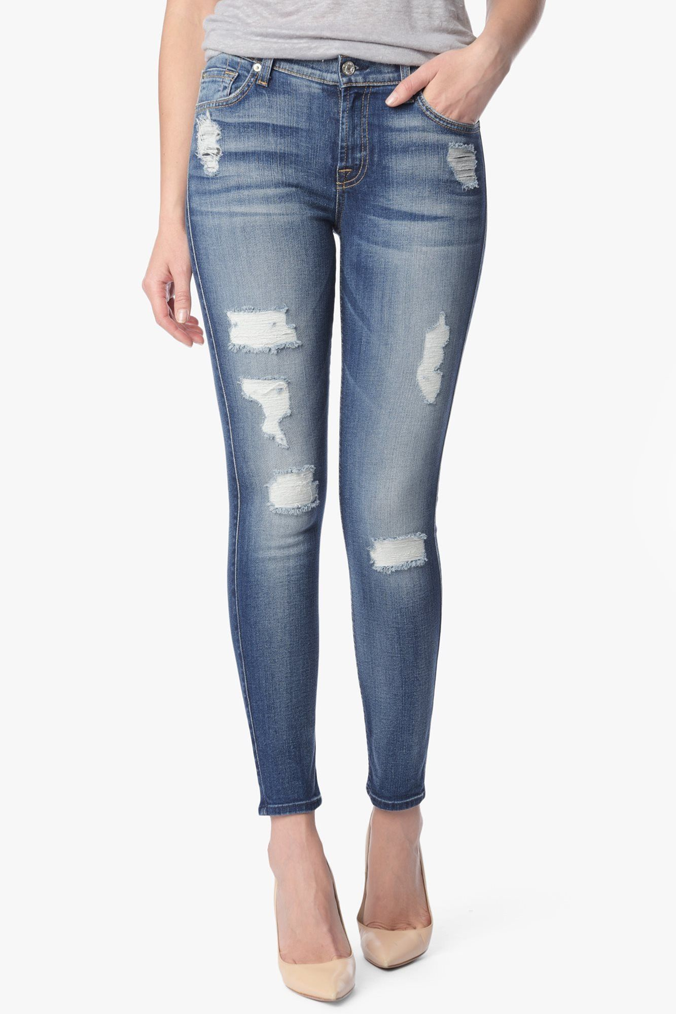 36a870627a 7 For All Mankind Ankle Skinny With Destroy in Distressed Authentic Light