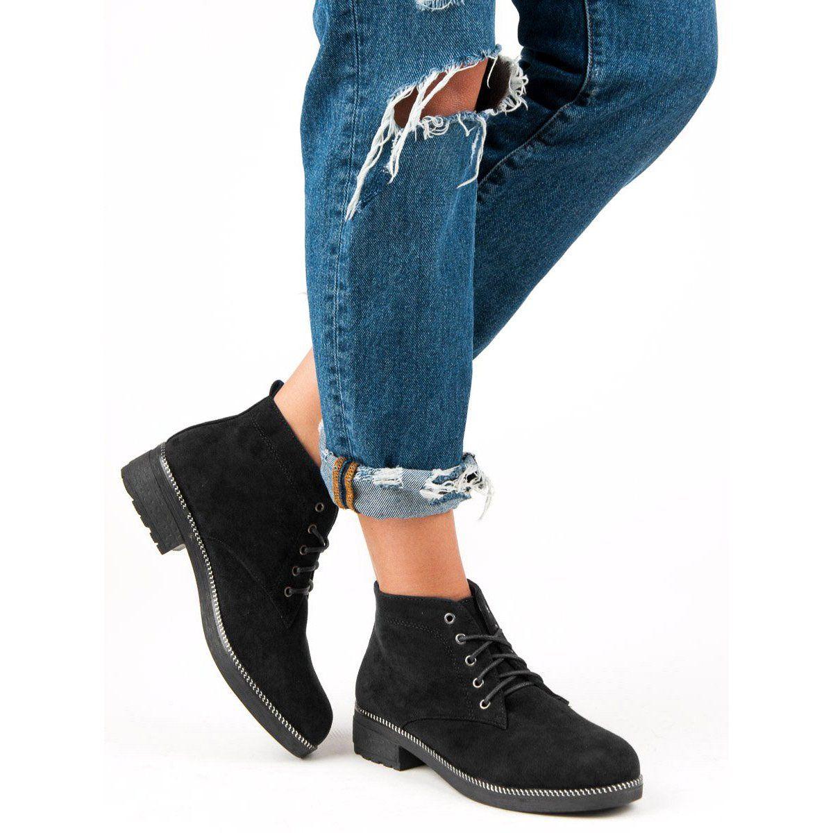 Nio Nio Sznurowane Zamszowe Botki Czarne Fashion Skinny Jeans Skinny