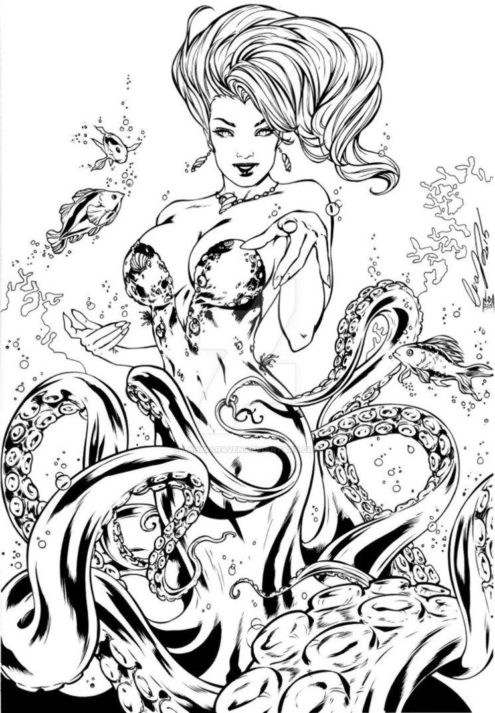 Disney ursula coloring pages - Ursula Sea Witch Penciller Elias Chatzoudis Inker Myself Disney Fairy Tales