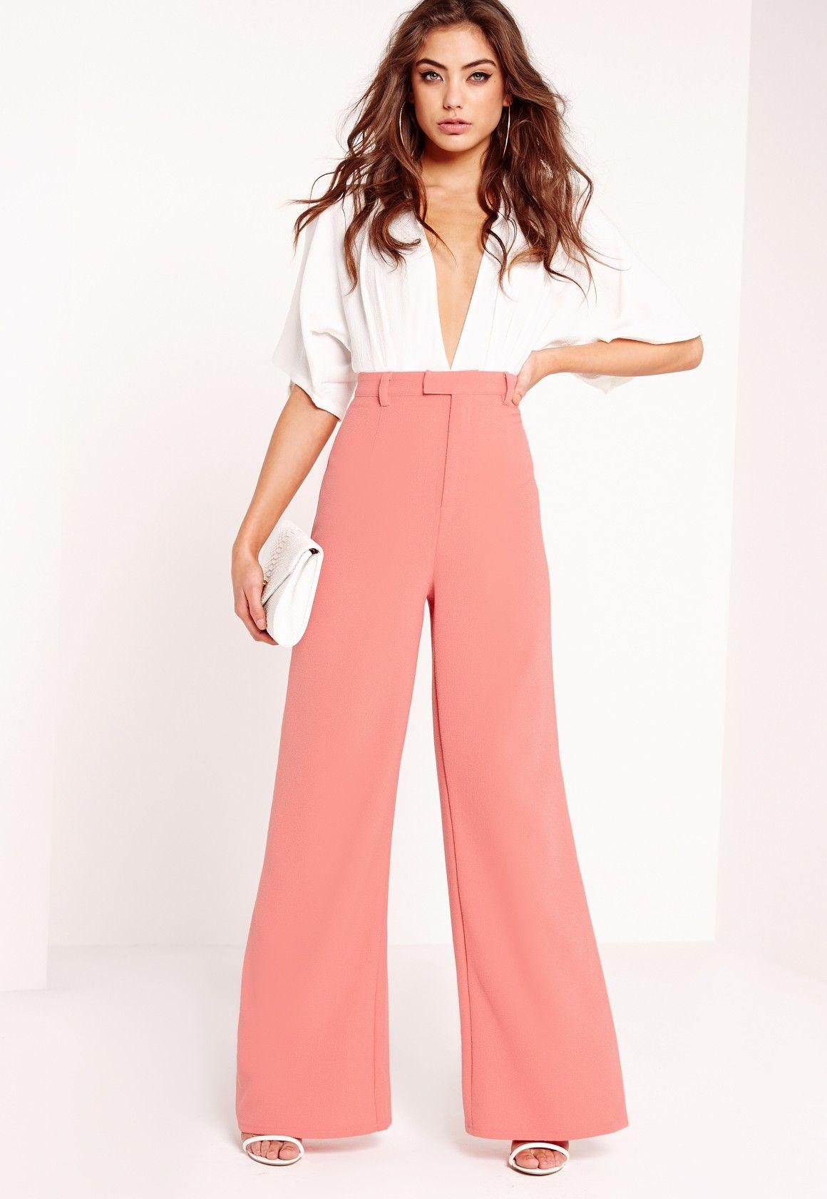 Missguided - Petite Premium Crepe Wide Leg Pants Pink   want ... 2ddfc25fd96d