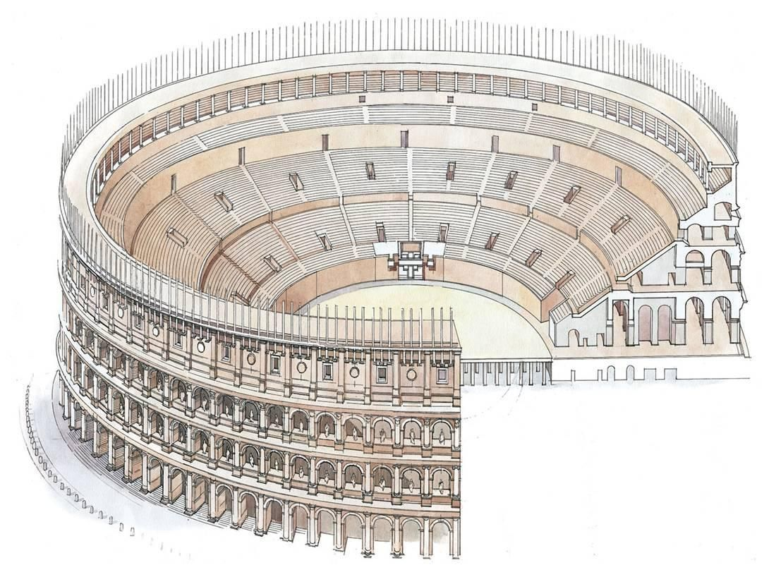 Roman Architecture Drawing drawing of colosseum architecture - google search | italy craft
