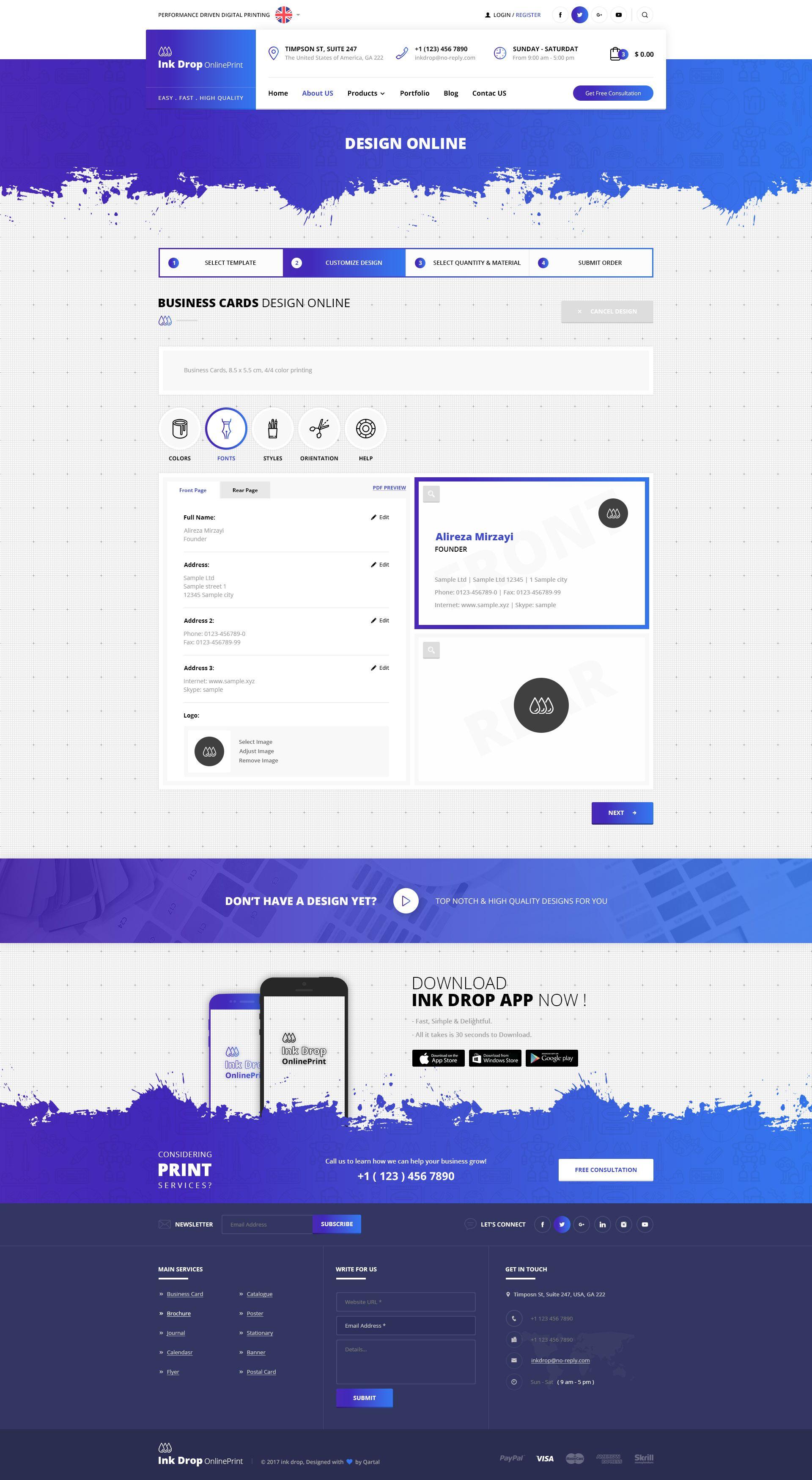 Ink Drop Online Printing Platform Psd Template Online Drop